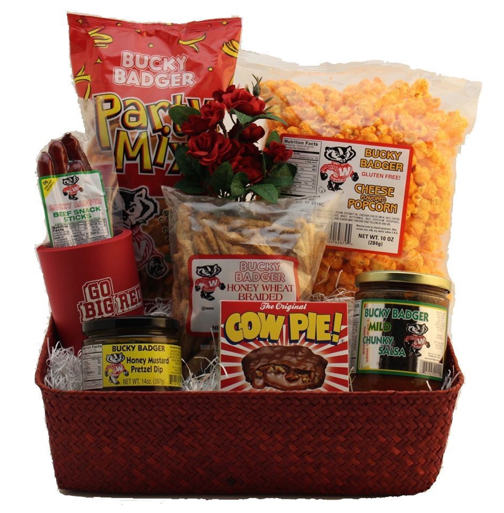 Good things for the badger fan northern harvest gift baskets picture of buckys big red basket negle Images