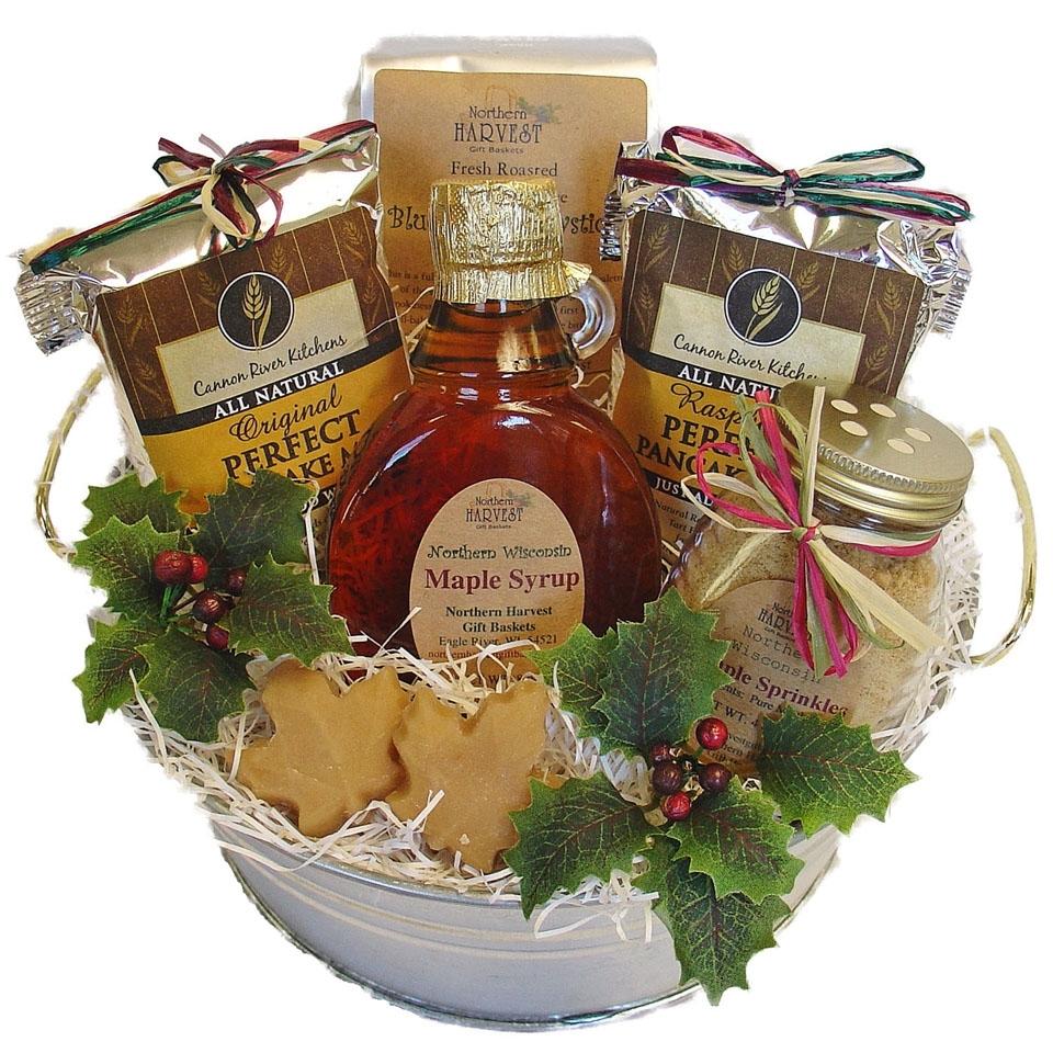 Ideas For Christmas Gift Baskets: Maple Treats Pancake Mix Gift Basket